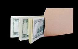 Dollars in the brown bag. Stock Photos