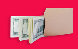 Dollars in the brown bag. Royalty Free Stock Images