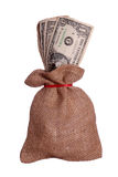 Dollars in brown sack Stock Images
