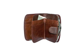 Dollars in a brown women's purse Stock Photo