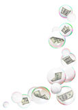 Dollars into bubbles frame Stock Photography