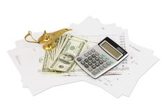 Dollars, calculator, graphics and lamp of Aladdin Stock Images