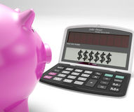 Dollars In Calculator Shows Rich American Fortune Stock Photo