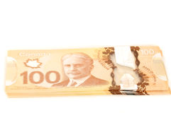 100 dollars Canadian bank notes. Recto and verso 100 dollars Canadian bank notes in polymer Royalty Free Stock Images