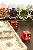 Dollars,cards and poker chips Stock Photography