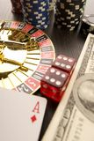 Dollars,cards and poker chips Stock Image