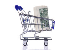Dollars in the cart Royalty Free Stock Photography