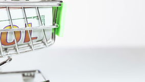 Dollars in cart stock footage