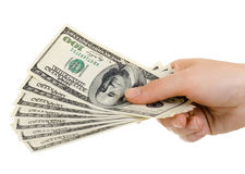 Dollars. Cash  currency note dollar in hand, on white background, isolated Stock Photo