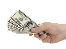 Dollars. Cash  currency note dollar in hand, on white background, isolated Stock Photography