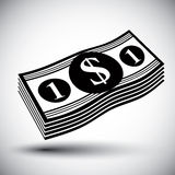 Dollars cash money stack vector simple single color icon. Royalty Free Stock Photography