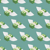 Dollars Cash with wings seamless pattern. Stock Image