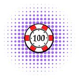 100 dollars casino chip icon, comics style. 100 dollars casino chip icon in comics style on a white background vector illustration