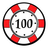 100 dollars casino chip icon, icon cartoon. 100 dollars casino chip icon in icon in cartoon style isolated vector illustration royalty free illustration