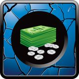 Dollars and cents on blue cracked web button Royalty Free Stock Photos