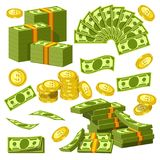 Money banknotes and golden coins bank dollars and cents piles and heaps vector icons. Dollars and cents money banknotes and golden cents coins icons. Vector Royalty Free Stock Images
