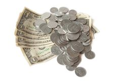 Dollars and cents over white Royalty Free Stock Photo