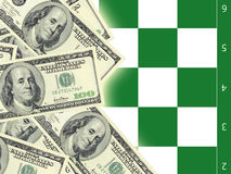 Dollars and chess. Dollar banknotes on a background of a chessboard Stock Images