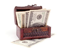 Dollars in the chest Royalty Free Stock Images
