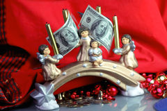 Dollars for Christmas Royalty Free Stock Photography