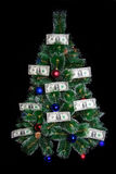 Dollars Christmas money tree Royalty Free Stock Images