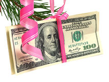 Dollars on christmas tree Stock Photography