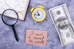 Dollars, clock, map and magnifier Royalty Free Stock Photo