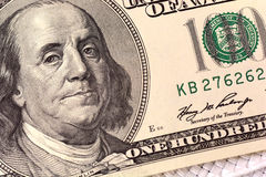 Dollars closeup. Benjamin Franklin portrait on one hundred dollar bill. Close up stock image