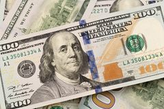 Dollars closeup. Benjamin Franklin`s portrait on a bill.Concept of money and earnings.  royalty free stock photography