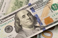 Dollars closeup. Benjamin Franklin`s portrait on a bill.Concept of money and earnings.  stock photography