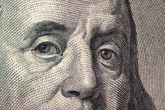 Dollars closeup. Benjamin Franklin`s portrait on one hundred dollar bill.  Stock Images