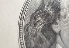 Dollars closeup. Benjamin Franklin`s portrait on one hundred dollar bill. stock image