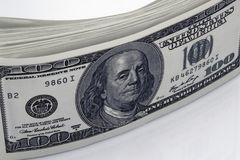 Dollars Closeup Concept. American Dollars Cash Money. One Hundred Dollar Banknotes. Stock Photography