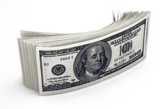 Dollars Closeup Concept. American Dollars Cash Money. One Hundred Dollar Banknotes. Royalty Free Stock Images