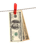 Dollars on clothes-peg Royalty Free Stock Photography