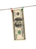 Dollars on clothes-peg. Over white royalty free stock image