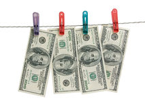 Dollars on clothes-peg Stock Photography