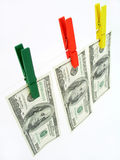 Dollars on a Clothesline. Isolated Royalty Free Stock Images