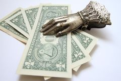 Dollars in a clothespin-holder Royalty Free Stock Photo