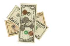 Dollars & Coins Royalty Free Stock Photography