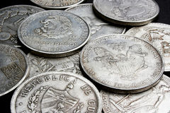 Dollars and coins. Old dollars and coins close up Royalty Free Stock Image