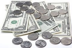 Dollars and coins Royalty Free Stock Images