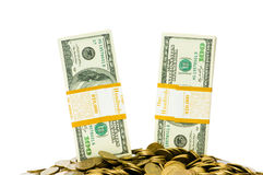 Dollars and coins isolated Royalty Free Stock Photos