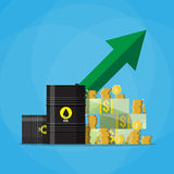 Dollars and coins, oil barrel chart graph arrow up. Stack of dollars and coins on oil barrel. green chart graph arrow pointing up, oil industry. vector Stock Images