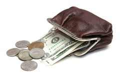 Dollars and coins in pouch royalty free stock photos