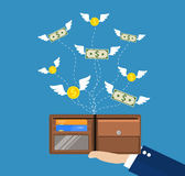 Dollars and coins with wings flying Royalty Free Stock Photo