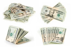 Dollars collection. Isolated on white Royalty Free Stock Photo