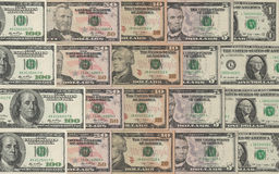 Dollars collection. Collection of dollars in descending order from 100 to 1 Stock Images