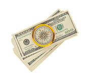 Dollars and compass Royalty Free Stock Photography