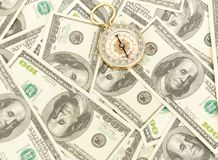 Dollars and compass. Royalty Free Stock Image